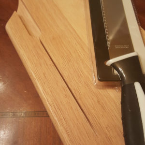 cutting board and bread knife