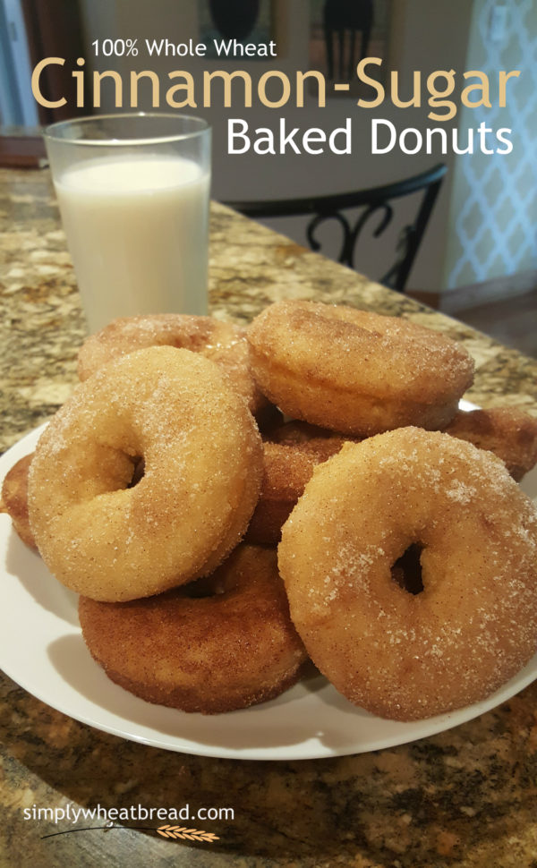 100% whole wheat baked donuts with cinnamon-sugar topping